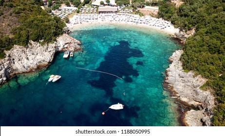 Aerial drone photo of popular beach of Mikri Amos near iconic area of Sivota, Epirus, Ionian, Greece