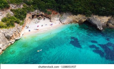 Aerial drone photo of popular sandy beach of Mega Drafi near iconic area of Sivota, Epirus, Ionian, Greece