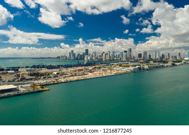 Aerial drone photo of Port Miami industrial Dodge Island and waterfront