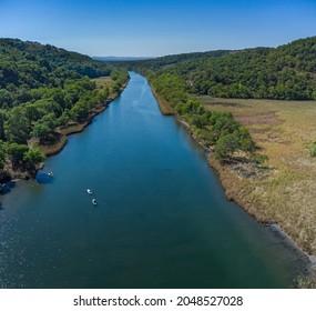 Aerial Drone Photo, Primorsko, Ropotamo river with canoe