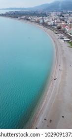 Aerial drone photo of Psani beach in historic city of Nafpaktos, Aitoloakarnania, Greece - Shutterstock ID 1029091372