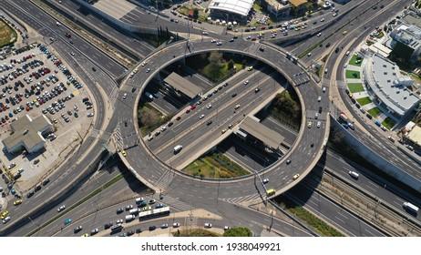 Aerial drone photo of ring road in Kifisias and Attiki odos avenues, a popular multilevel circular junction highway road, Marousi, Attica, Greece