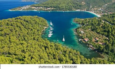 Aerial drone photo of safe small fjord harbour of Mplo near bay of Panormos a popular yacht and sail boat anchorage with calm sea covered with pine trees, Skopelos island, Sporades, Greece