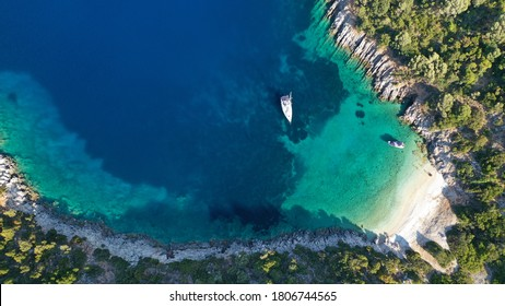 Aerial drone photo of secluded paradise sandy beach in Ithaki or Ithaca island, Ionian, Greece