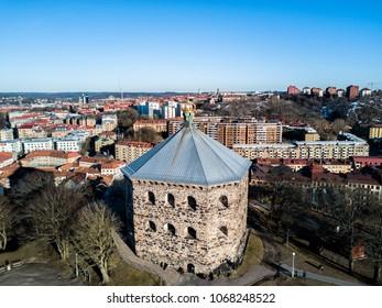Aerial drone photo - Skansen Kronan fortress overlooking the city of Gothenburg Sweden