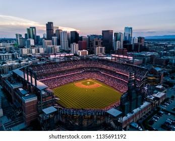 Aerial drone photo - Skyline of Denver Colorado at sunset