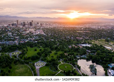 Aerial drone photo - Skyline of Denver, Colorado at sunset from City Park