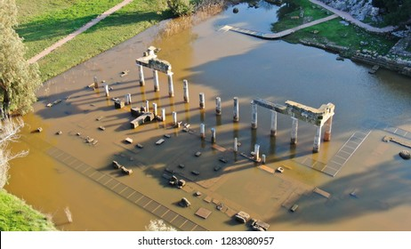 Aerial drone photo of Temple and Sanctuary of Artemis in archaeological site of Vravrona at winter time, Attica, Greece