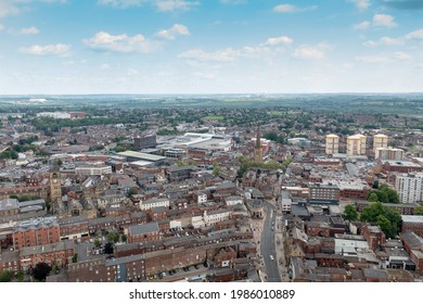 Aerial drone photo of the town centre of Wakefield in West Yorkshire in the UK showing the main city centre from above in the summer time. - Shutterstock ID 1986010889