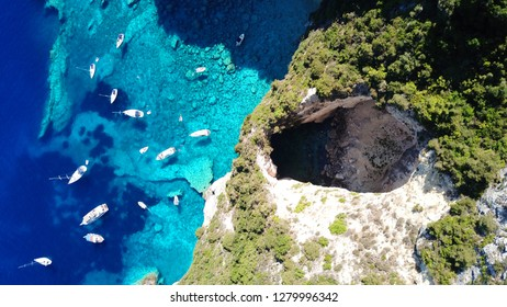 Aerial drone photo of tropical volcanic white rock deep turquoise paradise bay with beautiful colors and tropical nature