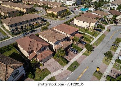 Aerial drone photo of two story single family homes in Doral FL USA
