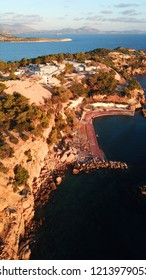 Aerial drone photo of under constraction site of Asteras in the heart of Vouliagmeni, Athens riviera, Attica, Greece