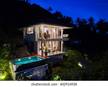 Aerial drone photo of a Villa at Night, Koh Samui Island, Thailand