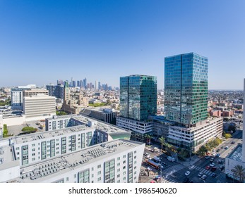 Aerial Drone Photo for Wilshire Blvd with Downtown LA from Vermont Ave LA Korea Town, April 2021