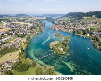 Aerial Drone photography of the beginning part of Rhine river at Lake Constance: Islet Werd, Stein am Rhein, Switzerland