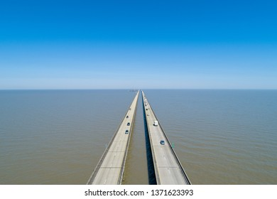 Aerial Drone Photography of the Lake Pontchartrain Causeway from Above