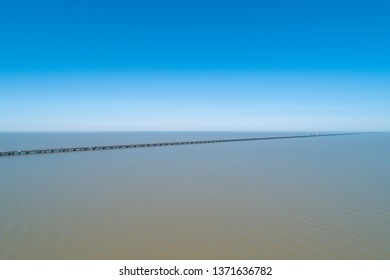 Aerial Drone Photography of Lake Pontchartrain Causeway.