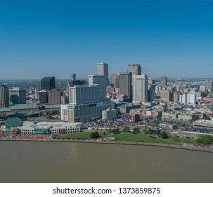 Aerial Drone Photography of the New Orleans Skyline from the Mississippi River.