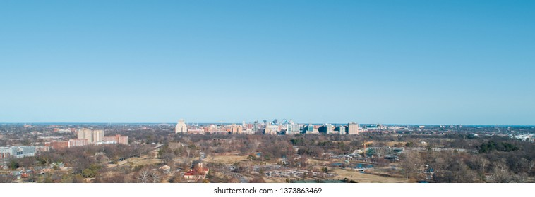 Aerial Drone Photography of the Saint Louis Missouri Skyline from a Park.