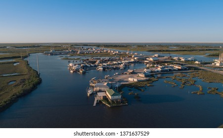 Aerial Drone Photography of a town during sunset in Southern Louisiana.