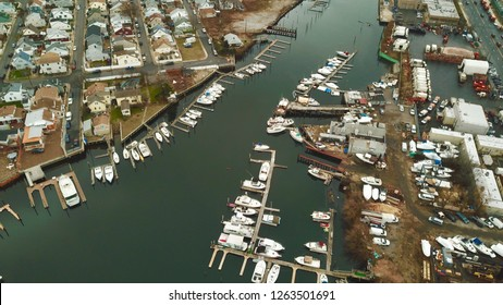 Aerial drone photos of yachts and houses in Gerritsen Beach in Brooklyn New York