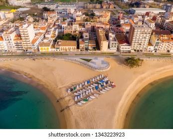 Aerial drone picture from small village Sant Antoni de Calonge from Spain, in Costa Brava