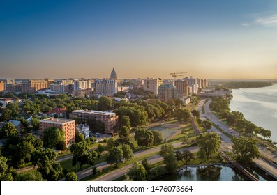Aerial drone pictures of downtown Madison Wisconsin