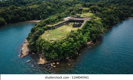 Aerial drone San Lorenzo Fort in Colon, Panama
