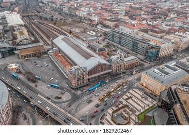 Aerial drone shot of Budapest Keleti railway station before sunrise in winter