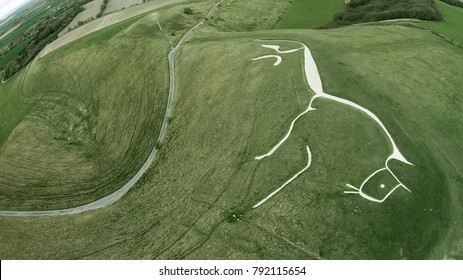 Aerial drone shot of the historic Uffington White Horse Chalk figure in Oxfordshire