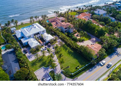 Aerial drone shot mansions in Florida