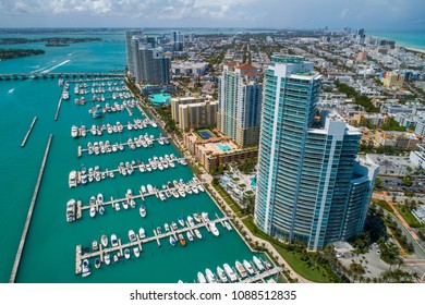 Aerial drone shot of the Miami Beach Marina