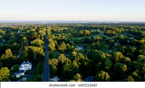 aerial drone shot over by North Street in Greenwich, Connecticut, looking towards the Long Island Sound