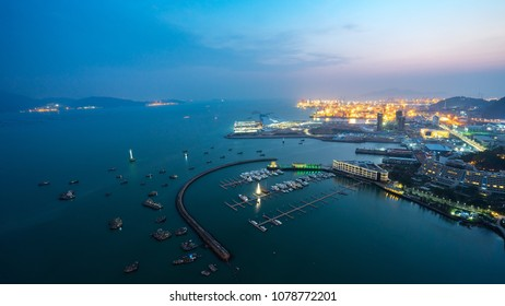 Aerial drone shot over Shenzhen Shekou Port