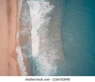 Aerial Drone Shot of Redhead Beach, Australia.