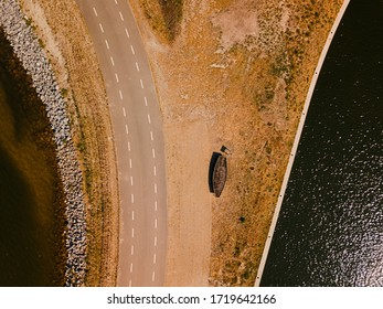 Aerial drone shot of top down view of the beautiful road