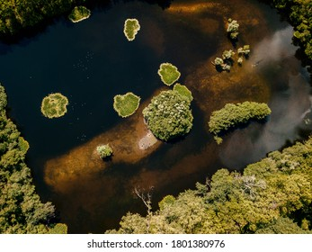 Aerial drone shot of top down view of the islands in the Netherlands.