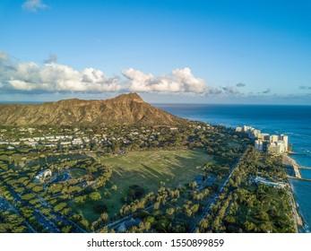 Aerial drone shot view of Kapiolani Park in Honolulu in Hawaii