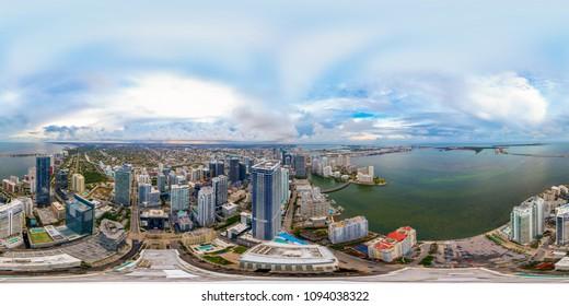 Aerial drone spherical panorama of Downtown Brickell Miami Dade Florida USA