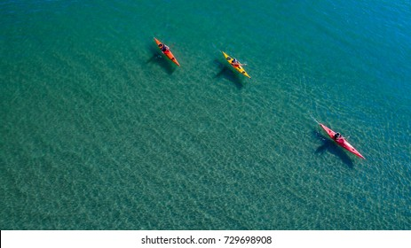 Aerial Drone top view, Kayaking in the Adriatic sea.