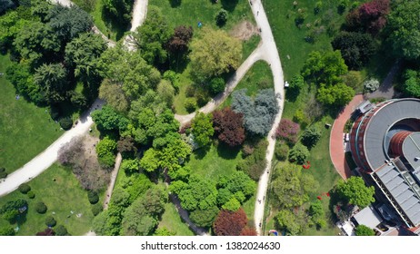 Aerial drone top view photo of famous Sempione park in the heart of Milan, Lombardy, Italy
