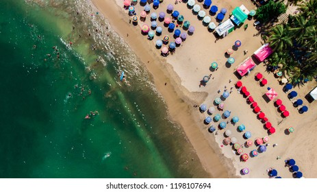 Aerial drone top view of Sayulita Beach in Nayarit, Mexico.