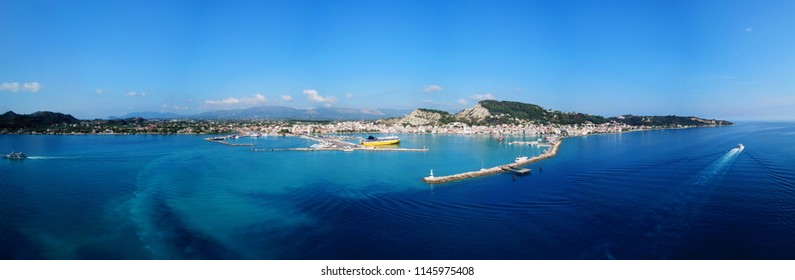 Aerial drone ultra wide panoramic photo of famous and picturesque port and town of Zakynthos island, Ionian, Greece