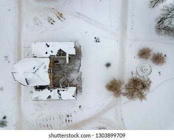 Aerial drone view of abandoned ruined former Venevitinov's mansion in Gorozhanka, Voronezh Region in winter