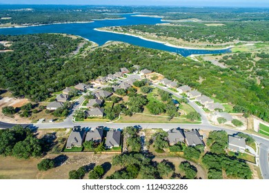 Aerial drone view above Real estate development houses and homes in suburb Georgetown , Texas view of Georgetown lake