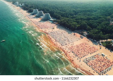 Aerial drone view of Albena sandy beach resort, Bulgaria. Summer tourism.