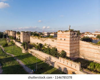 Aerial Drone View of Ancient Constantinople's Walls in Istanbul / Byzantine Constantinople Entrance is Dedicated to Belgrade