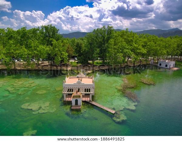 Aerial drone view in Banyoles lake. Girona. Spain