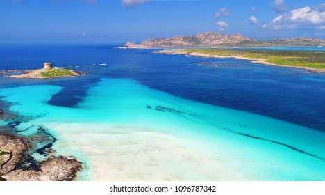 aerial drone view, beautiful beach Stintino La Pelosa - Sardinia, Italy