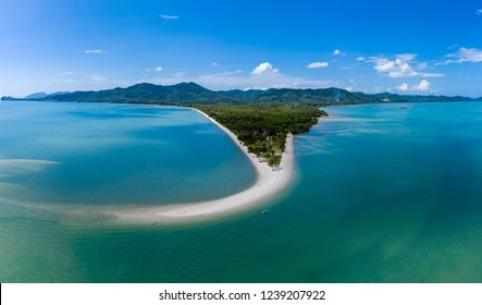 Aerial drone view of a beautiful sandy beach and tropical ocean (Laem Haad, Koh Yao Yai, Thailand)